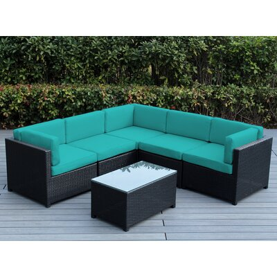 Mezzo 6 Piece Deep Seating Group with Cushion Fabric: Turquoise
