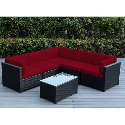 Mezzo 6 Piece Deep Seating Group with Cushion Fabric: Red