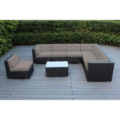 Kiara 8 Piece Deep Seating Group with Cushion Frame Finish: Black, Fabric: Natural