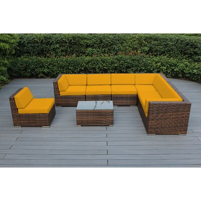 Kiara 8 Piece Deep Seating Group with Cushion Frame Finish: Mixed Brown, Fabric: Sunflower Yellow