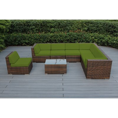 Kiara 8 Piece Wicker Outer Frame Deep Seating Group with Cushion Frame Finish: Mixed Brown, Fabric: Turquoise