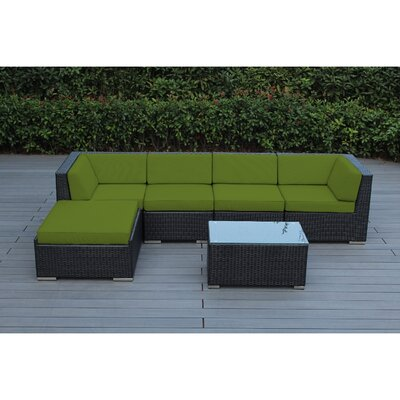 Kiara 6 Piece Deep Seating Group with Cushion Frame Finish: Black, Fabric: Macaw