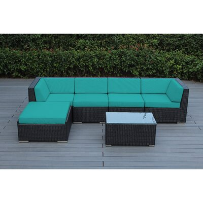 Kiara 6 Piece Wicker Outer Frame Deep Seating Group with Cushion Frame Finish: Black, Fabric: Turquoise