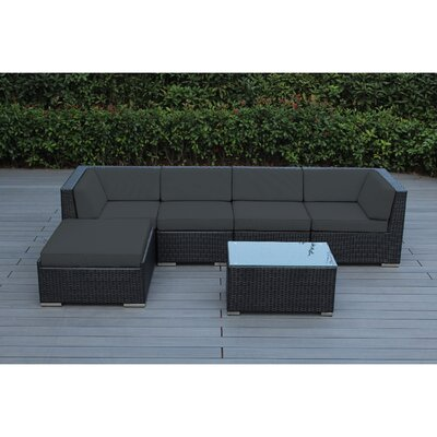 Kiara 6 Piece Deep Seating Group with Cushion Frame Finish: Black, Fabric: Tuscan