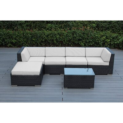 Kiara 6 Piece Deep Seating Group with Cushion Frame Finish: Black, Fabric: Natural