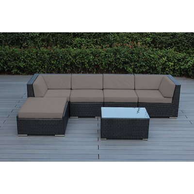 Kiara 6 Piece Deep Seating Group with Cushion Frame Finish: Black, Fabric: Taupe