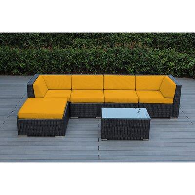 Kiara 6 Piece Deep Seating Group with Cushion Frame Finish: Black, Fabric: Sunflower Yellow