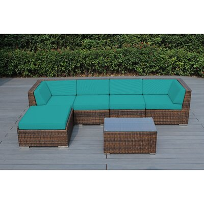 Kiara 6 Piece Deep Seating Group with Cushion Fabric: Aruba, Frame Finish: Mixed Brown
