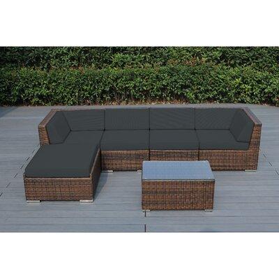 Kiara 6 Piece Deep Seating Group with Cushion Frame Finish: Mixed Brown, Fabric: Tuscan