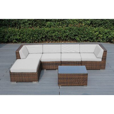 Kiara 6 Piece Deep Seating Group with Cushion Frame Finish: Mixed Brown, Fabric: Natural