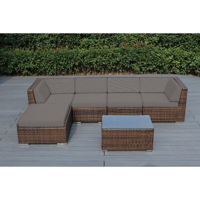 Kiara 6 Piece Deep Seating Group with Cushion Frame Finish: Mixed Brown, Fabric: Taupe