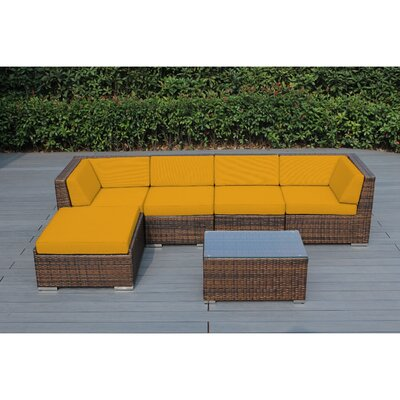 Kiara 6 Piece Deep Seating Group with Cushion Frame Finish: Mixed Brown, Fabric: Sunflower Yellow