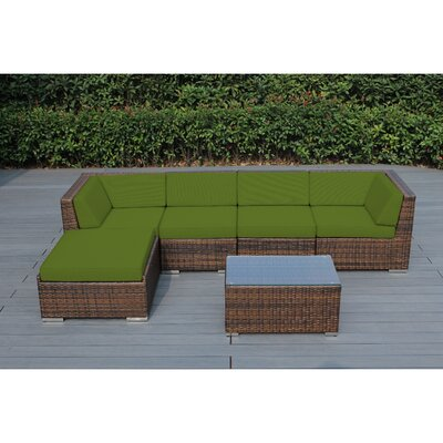 Kiara 6 Piece Deep Seating Group with Cushion Fabric: Macaw, Frame Finish: Mixed Brown