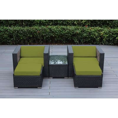 Kiara 5 Piece Deep Seating with Cushion Frame Finish: Black, Fabric: Tuscan
