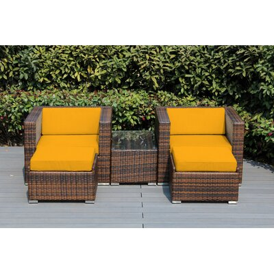 Kiara 5 Piece Deep Seating with Cushion Frame Finish: Black, Fabric: Sunflower Yellow