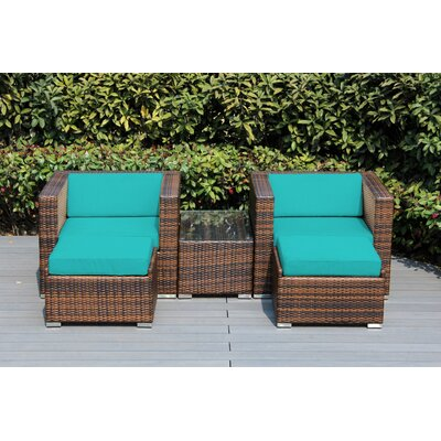 Kiara 5 Piece Deep Seating with Cushion Fabric: Aruba, Frame Finish: Black