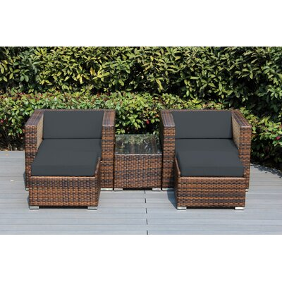 Kiara 5 Piece Wicker Outer Frame Deep Seating with Cushion Fabric: Dark Gray, Frame Finish: Mixed Brown