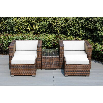 Kiara 5 Piece Deep Seating with Cushion Frame Finish: Mixed Brown, Fabric: Natural