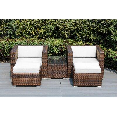 Kiara 5 Piece Deep Seating with Cushion Frame Finish: Black, Fabric: Natural