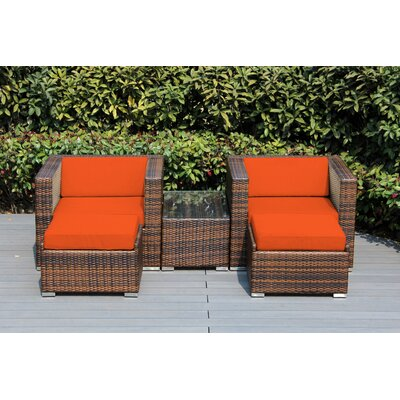 Kiara 5 Piece Deep Seating with Cushion Frame Finish: Mixed Brown, Fabric: Tuscan