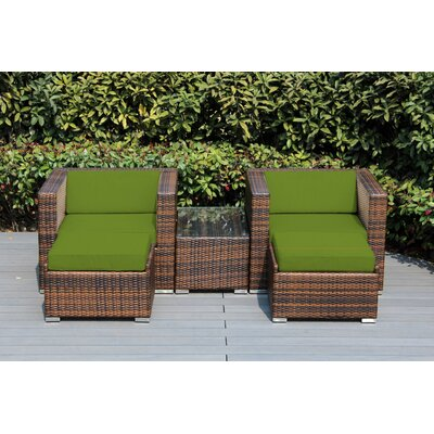 Kiara 5 Piece Deep Seating with Cushion Frame Finish: Black, Fabric: Macaw
