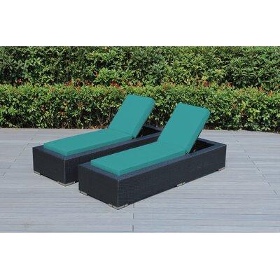 Madelynn Chaise Lounge Fabric: Sunbrella Aruba
