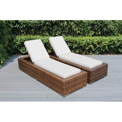 Ohana Chaise Lounge with Cushion Fabric: Sunbrella Natural