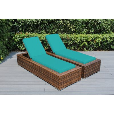 Ohana Chaise Lounge with Cushion Fabric: Sunbrella Aruba