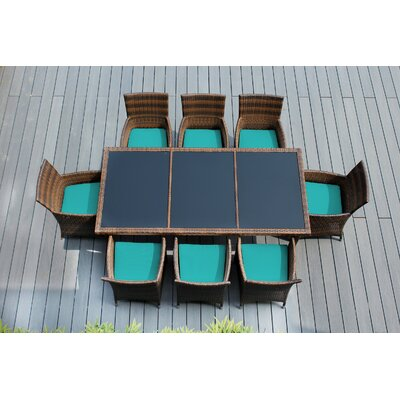 Ohana 9 Piece Dining Set with Cushions Fabric: Turquoise