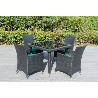 Ohana 5 Piece Dining Set Fabric: Turquoise