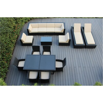 Ohana 16 Piece Seating Dining and Chaise Lounge Set Fabric: Beige, Finish: Black