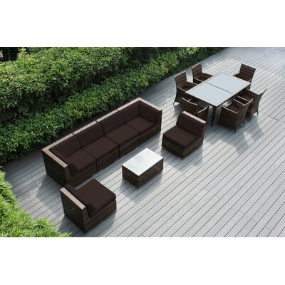Ohana 14 Piece Sofa and Dining Set Fabric: Sunbrella Bay Brown, Finish: Black