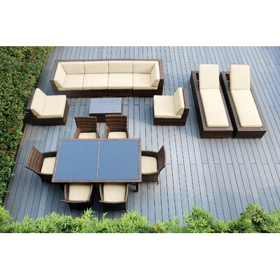 Ohana 16 Piece Seating Dining and Chaise Lounge Set Fabric: Sunbrella Antique Beige, Finish: Mixed Brown