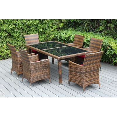 Ohana 7 Piece Dining Set with Cushions Fabric: Sunbrella Jockey Red