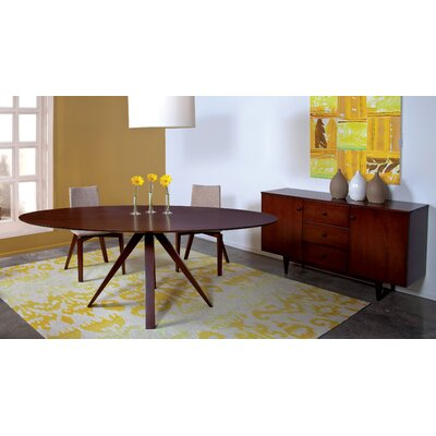 Drake Oval Dining Table Finish: Walnut, Table Top: Strata Top, Size: 29 H x 36 - 42 W x 80 D