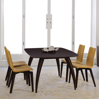 Kira Extendable Dining Table Finish: Java, Table Top: Strata Top