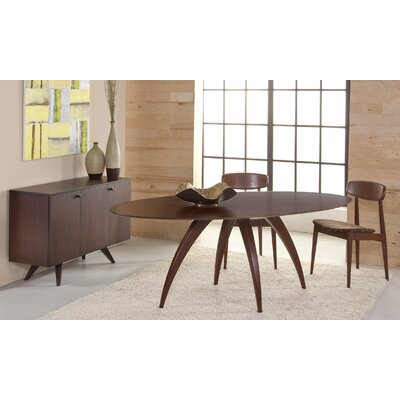 Cade Oval Dining Table Finish: Walnut, Table Top: Strata Top