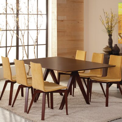 Jermey Rectangular Wood Dining Table Finish: Walnut, Table Top: Strata Top