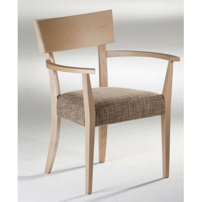 Kraig Arm Chair in Sunbrella Spectrum Dove Color: Walnut, Arms: With Arms