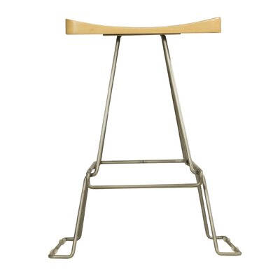 Sofian 24 Saddle Bar Stool Base Finish: Chrome, Color: Natural
