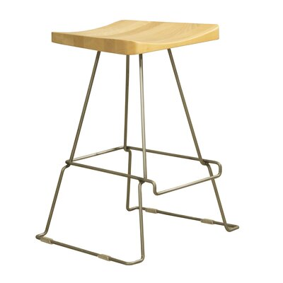 Sofian 24 Saddle Bar Stool Base Finish: Chrome, Color: Walnut