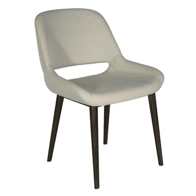 Fusco Upholstered Dining Chair Upholstery Color: Espresso, Leg Color: Walnut
