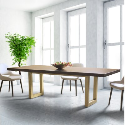 Sharlene Straight Edge Dining Table Base Color: Shadow, Size: 42 W x 80 L, Top Color: Gold