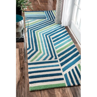 Thomas Paul Hand-Tufted Blue Area Rug Rug Size: Runner 28 x 8