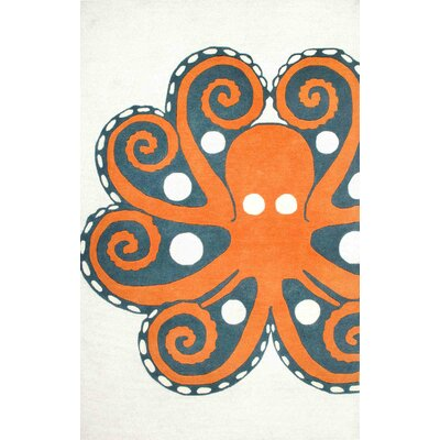 Thomas Paul Hand-Tufted Orange Area Rug Rug Size: 7 x 9