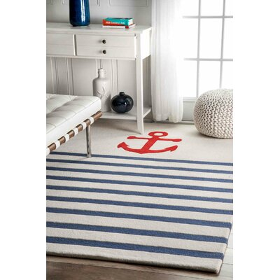 Thomas Paul Hand-Tufted Blue/Ivory Area Rug Rug Size: 4 x 6
