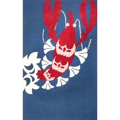 Thomas Paul Hand-Tufted Red/Navy Area Rug Rug Size: 5 x 8