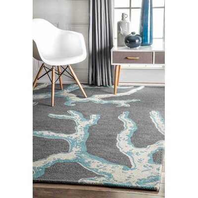 Thomas Paul Hand-Tufted Gray Area Rug Rug Size: 4 x 6