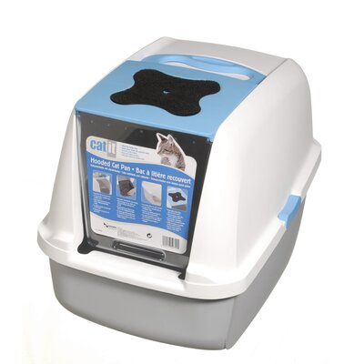 Catit Hooded Cat Litter Pan Color: White/Blue