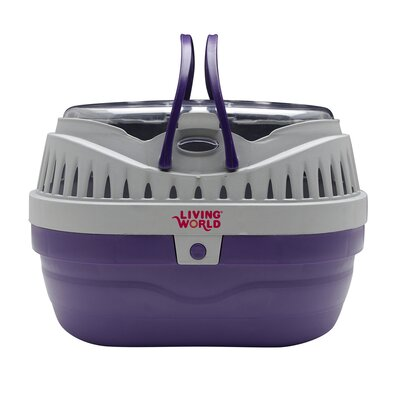 Living World Pet Carrier Size: Small (4.8 H x 7 W x 9 L), Color: Purple / Grey